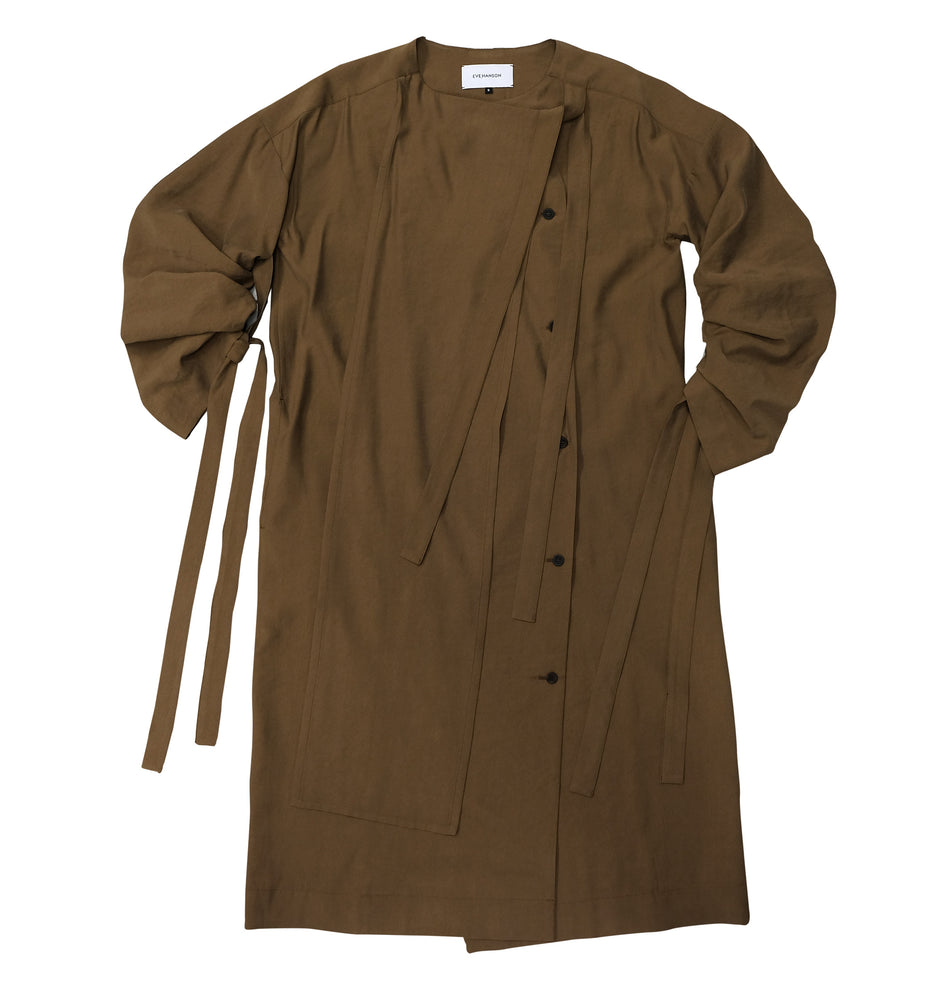 Viscose shirt dress in mustard colour