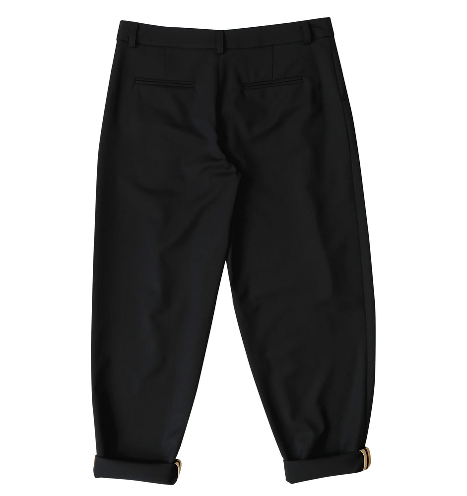Wool twill trousers with rolled up cuffs