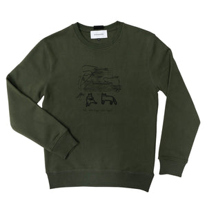 Sweatshirt in khaki with cats