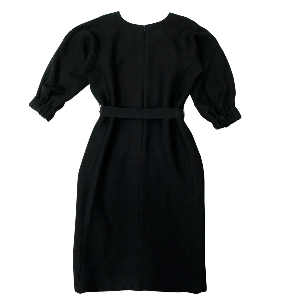 Viscose mix structured fabric dress in black