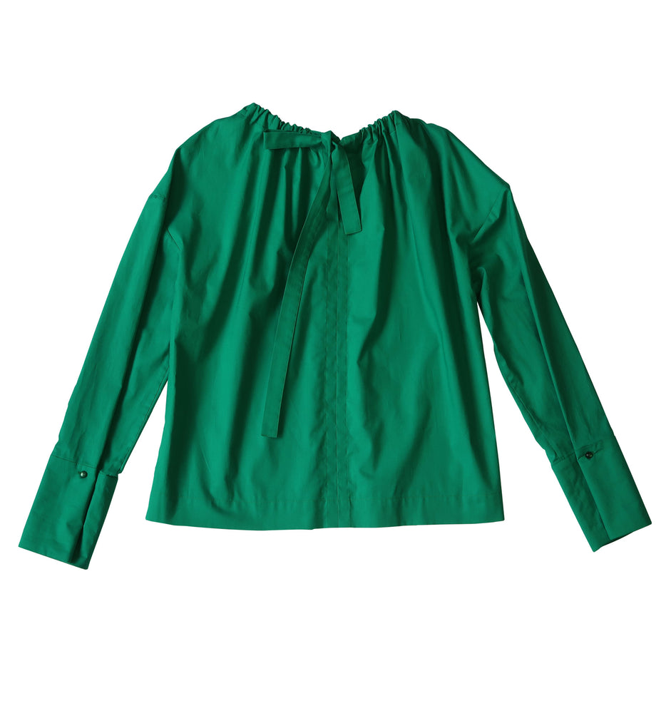 Long sleeve cotton blouse in green