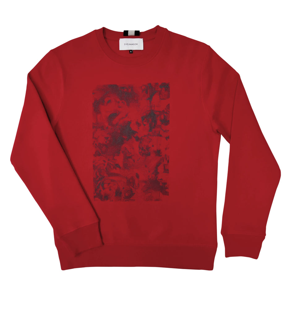 Long sleeve jersey sweatshirt in red