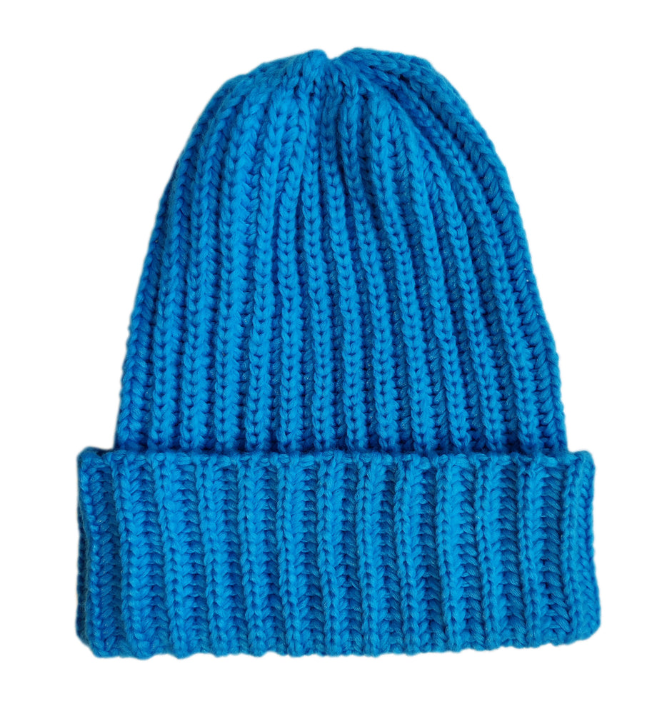 Fold-Up Merino wool beanie in blue