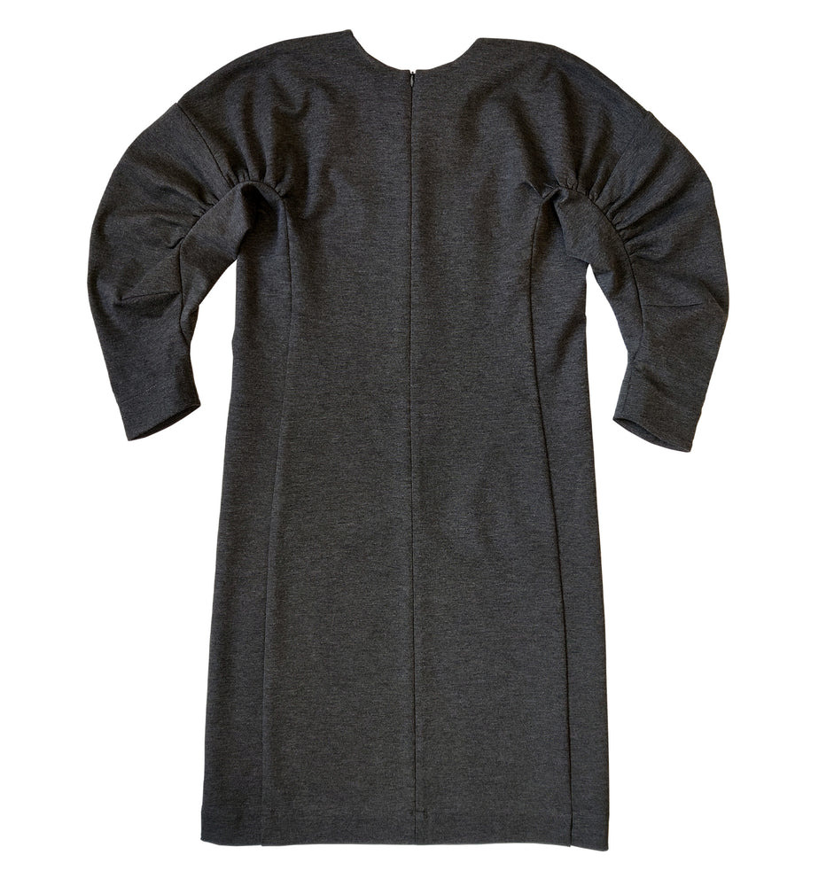 Mid-length gathered sleeve jersey dress in dark grey