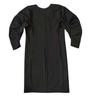 Mid-length gathered sleeve jersey dress in black