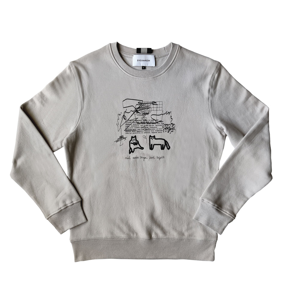 Sweatshirt in light beige with cats