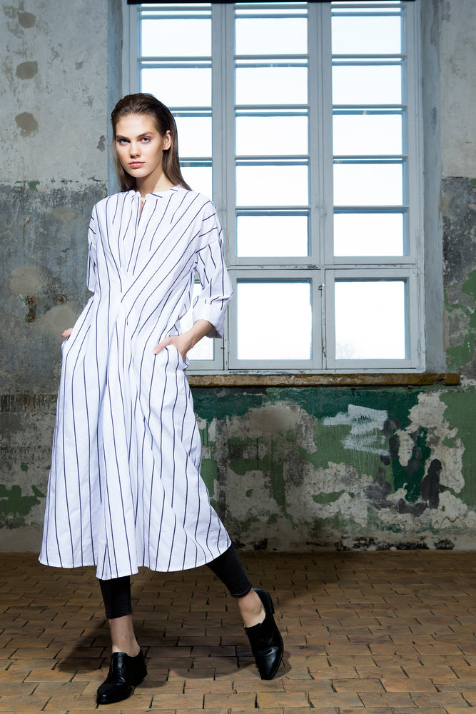 Long sleeve shirt-style dress from white striped cotton fabric