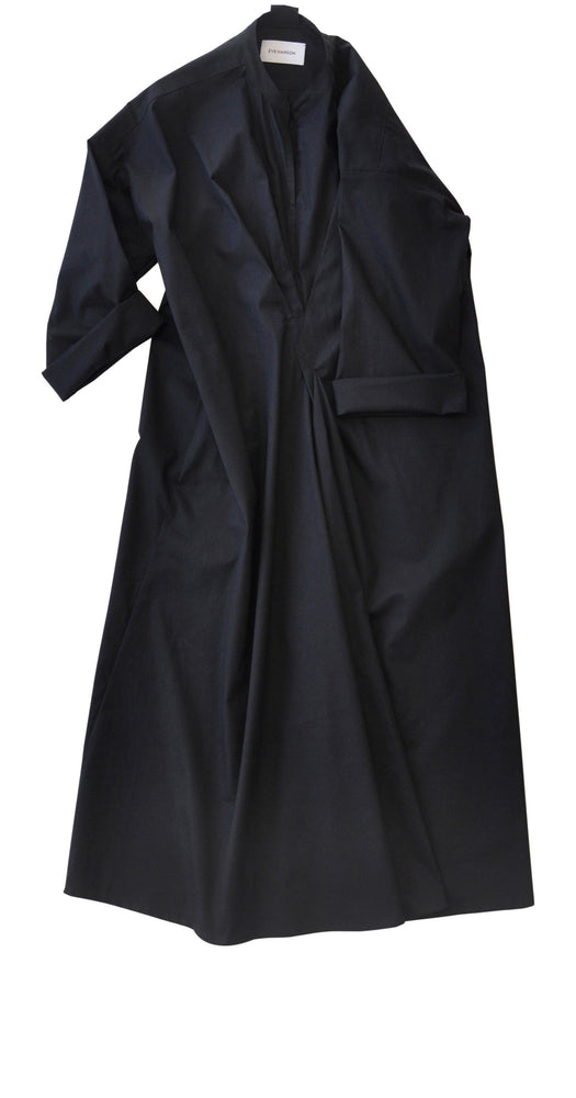 Wrap detail cotton poplin shirt-style dress in black