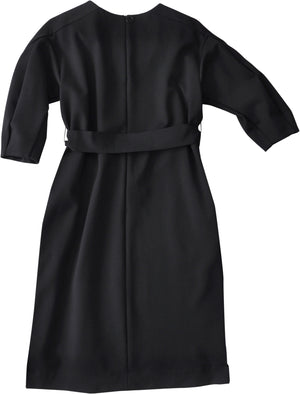 Mid length volume sleeve belted jersey dress in black