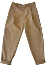 Relaxed fit cotton poplin trousers in beige