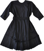 Long kimono sleeve cotton poplin dress in black