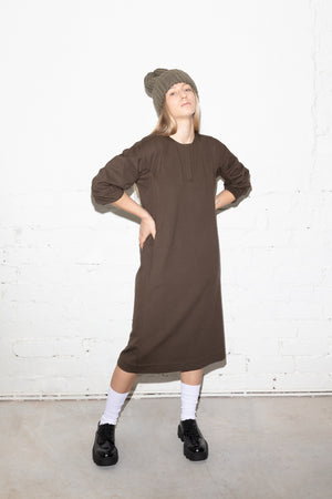 Mid-length gathered sleeve jersey dress in khaki green
