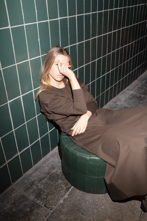 Long sleeve jersey midi dress in khaki green