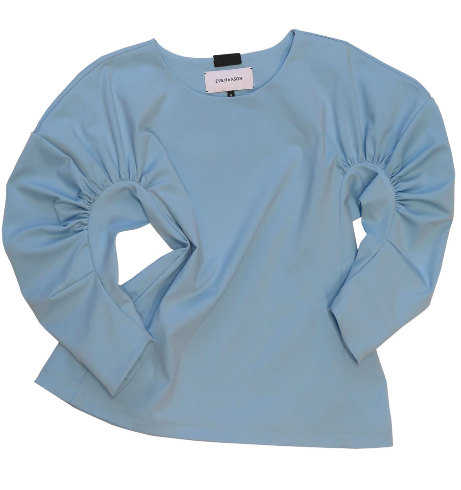 Mid length gathered sleeve jersey top in light blue