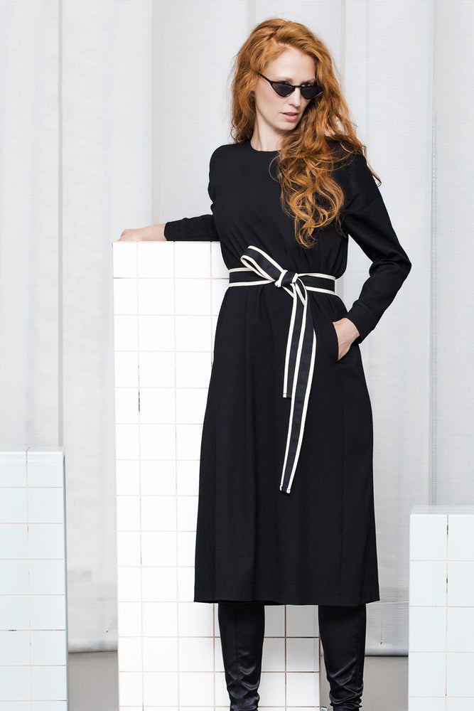Long gathered sleeve textured woolen fabric dress in black
