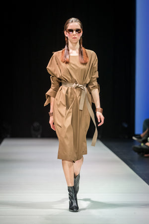 Long kimono sleeve cotton poplin dress in camel