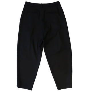 Relaxed fit wool flannel trousers in black