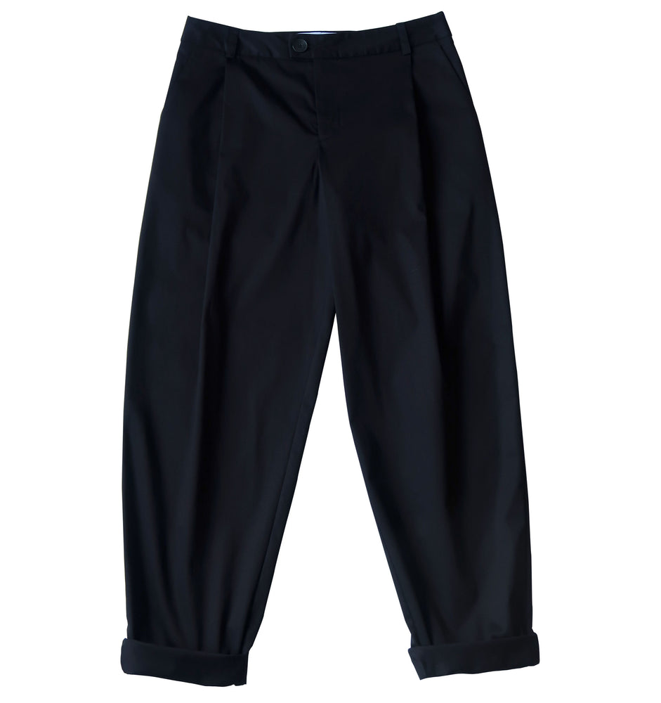 Relaxed fit cotton elastane fabric trousers in black
