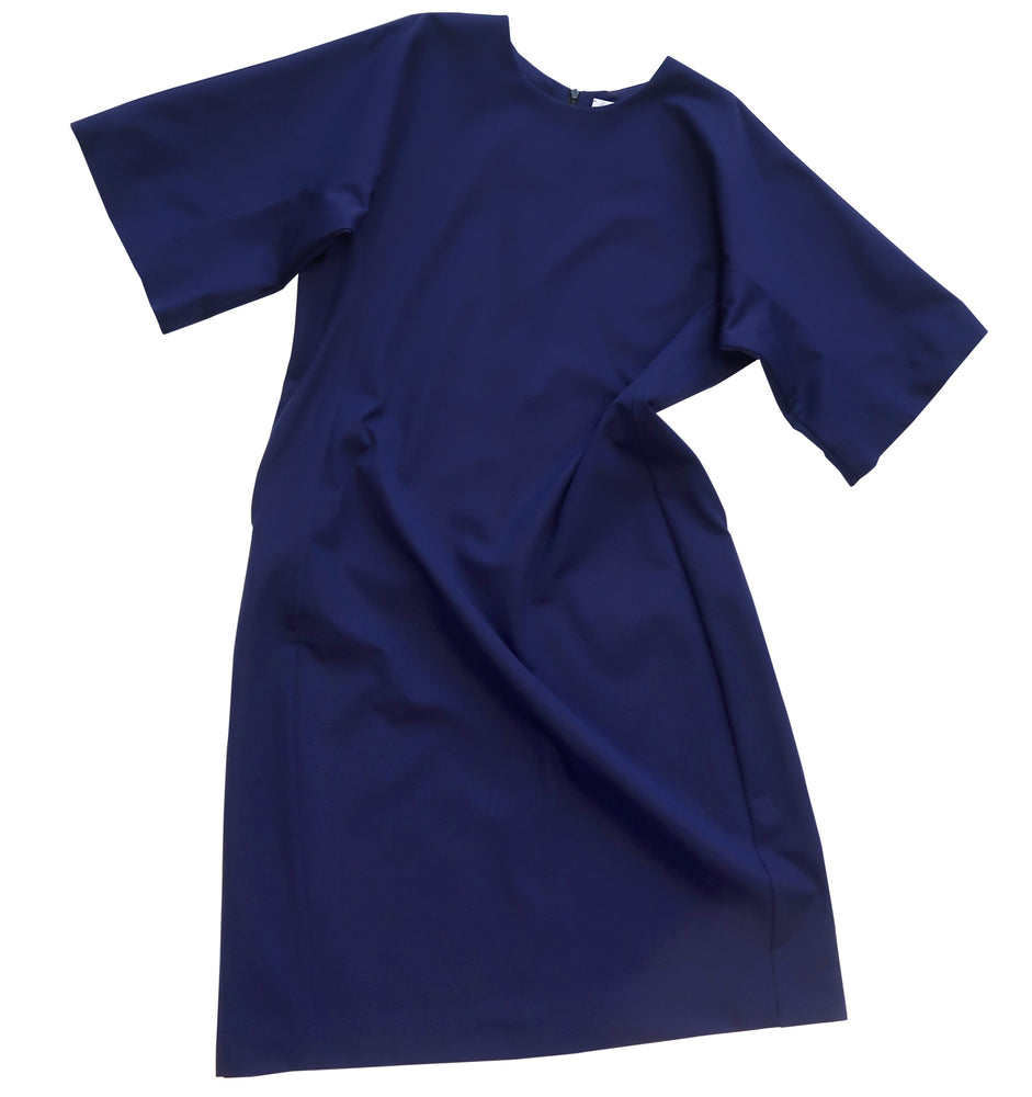 Three-quarter sleeve cotton elastane fabric dress in dark violet