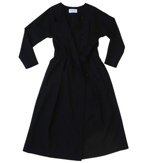 Long kimono sleeve wool fabric dress in black