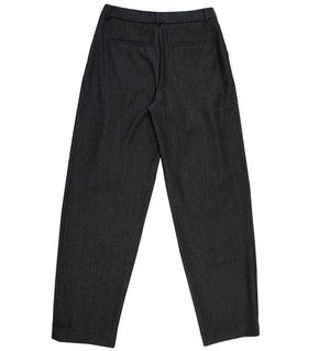 Relaxed fit wool twill trousers in dark grey
