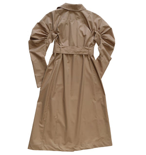 Gathered sleeve coated cotton trench coat in beige