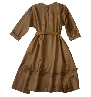Long kimono sleeve cotton poplin dress in camel beige