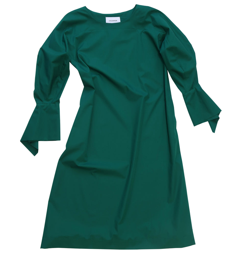 Wide voluminous sleeves cotton poplin dress in green