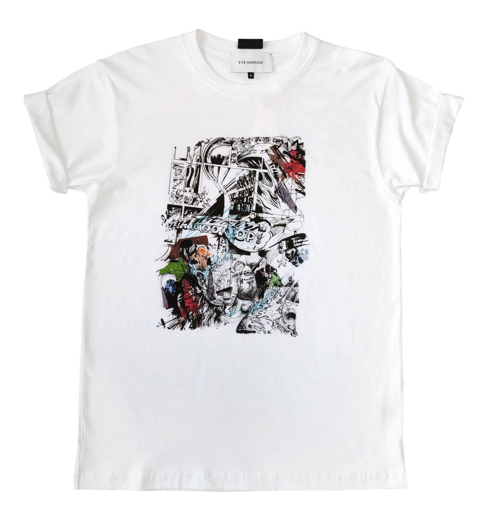 Short sleeve cotton jersey t-shirt with comics style print