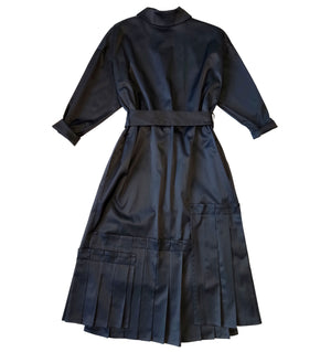 Long sleeve cotton viscose satin dress in dark blue