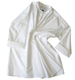 Long sleeve cotton poplin shirt in white
