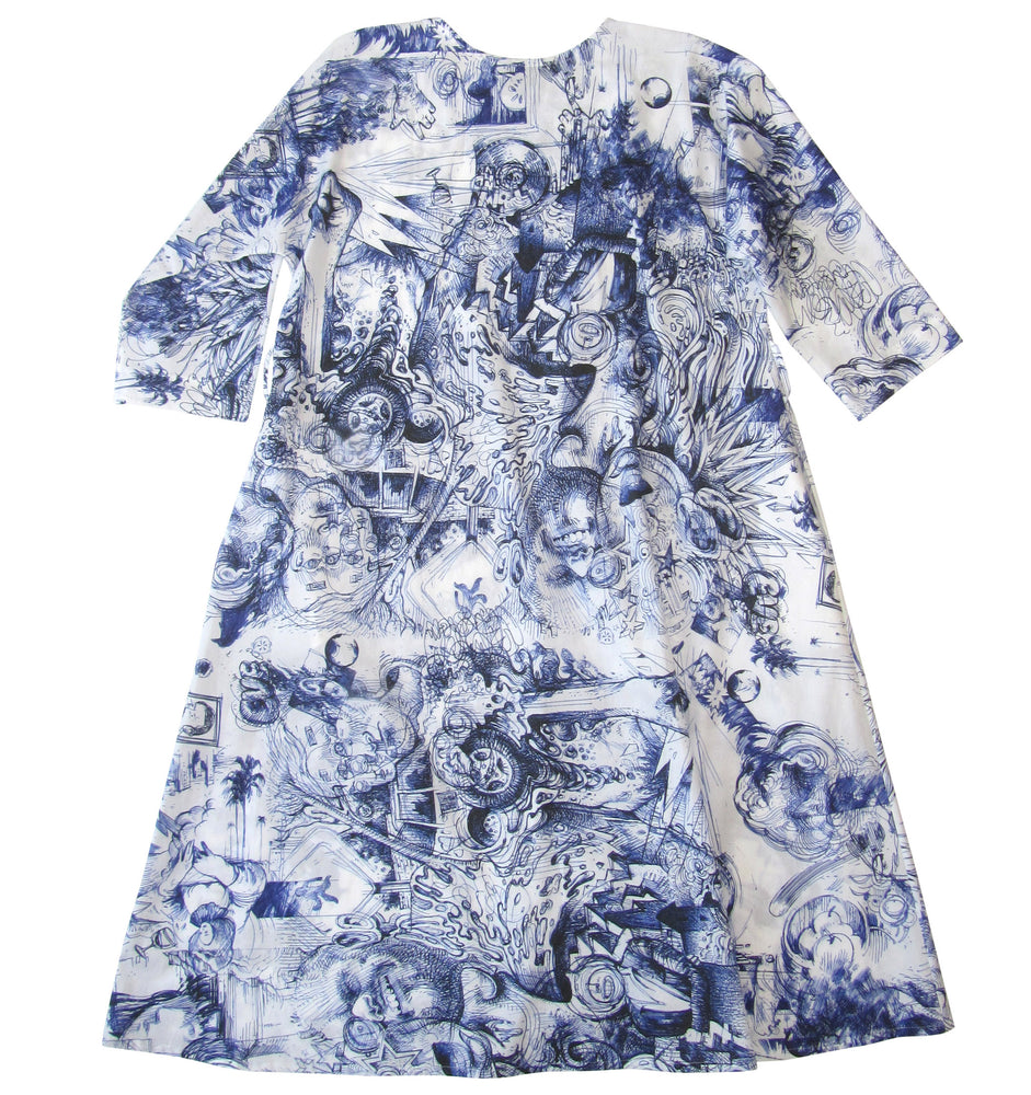 Kimono sleeve cotton poplin dress in graphic pattern
