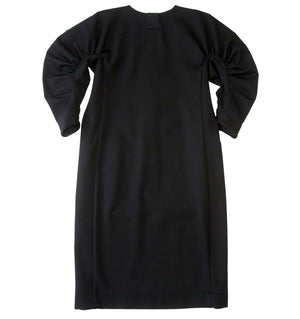 Front zipped jersey dress in black