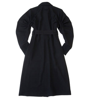 Long gathered sleeve wool twill dress-coat in black