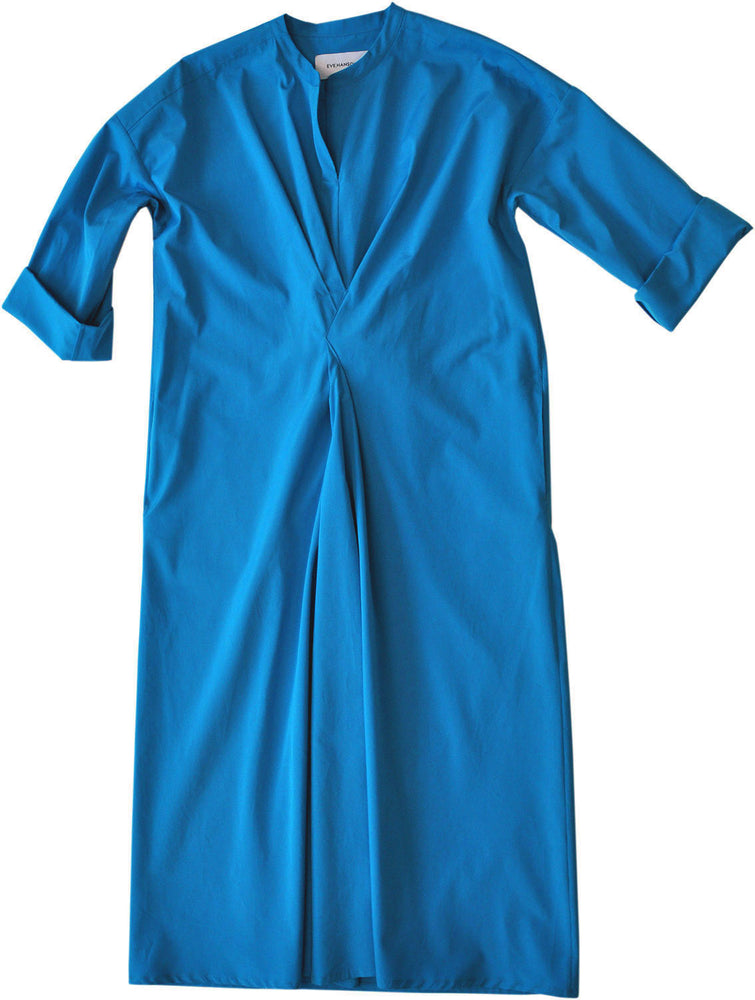 Wrap detail cotton poplin shirt-style dress in blue