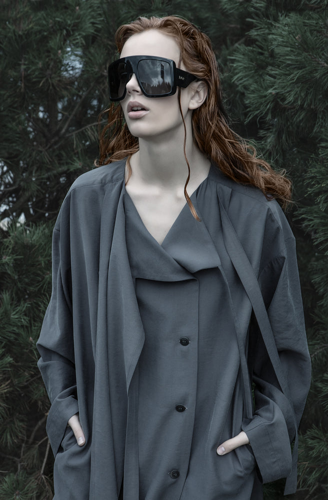 Viscose shirt dress in grey