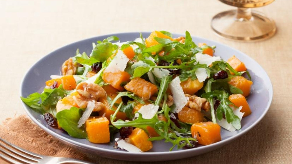 Roasted Butternut Squash With Herb Oat Stuffing and Apple Cider Vinaigrette