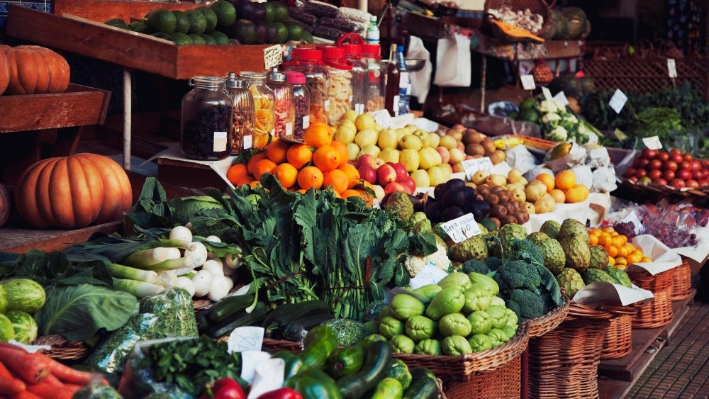 Local farmers market with fruits and vegetables