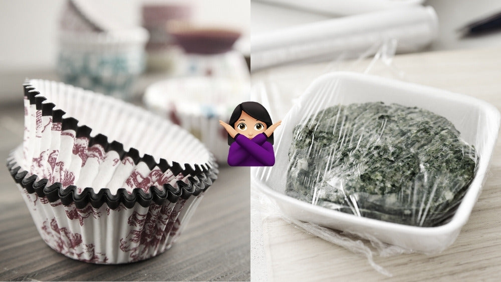 Muffin cup papers and cling wrap