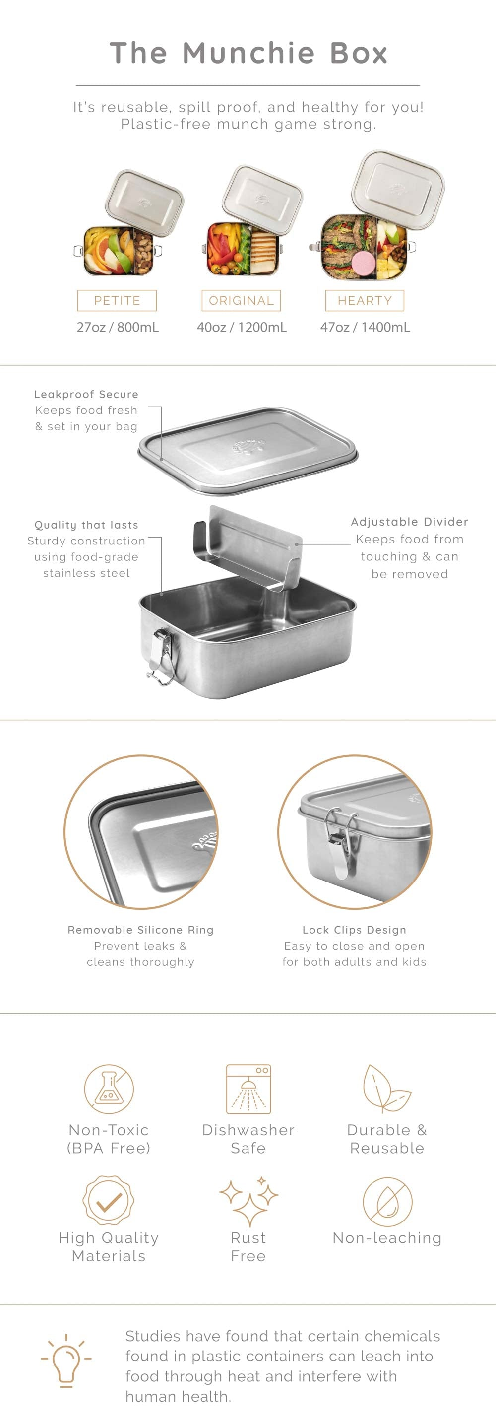 Large Stainless Steel Bento Box Leak-Proof | Eco-Friendly Lunchbox