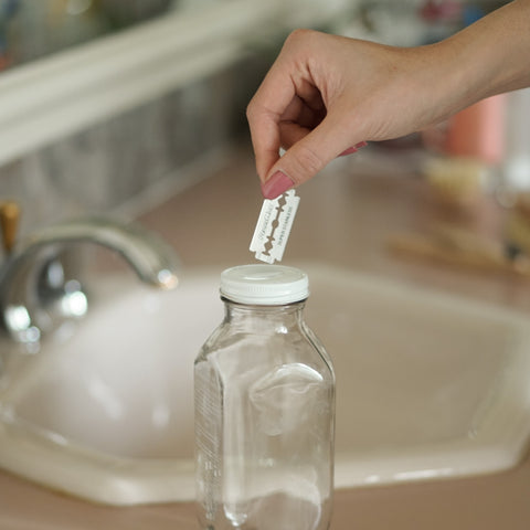 collect old razor blades in a jar to recycle