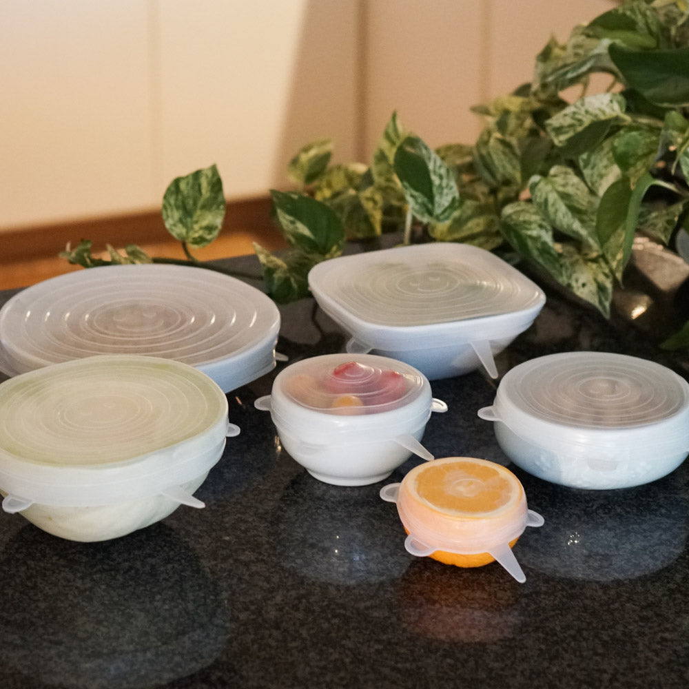 6 Pack Stretch & Seal Silicone Lids | Reusable Food and Container Lids