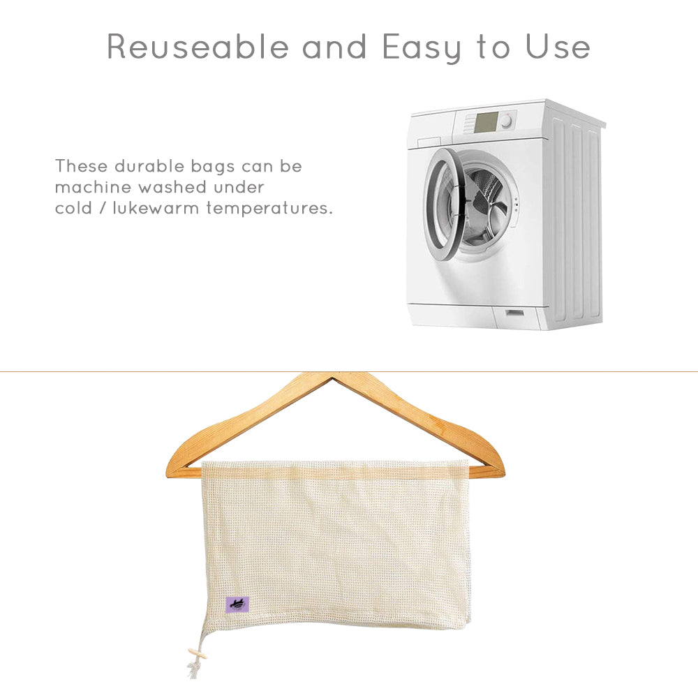 How to wash Net Zero Cotton Produce Bags - machine washable grocery bags