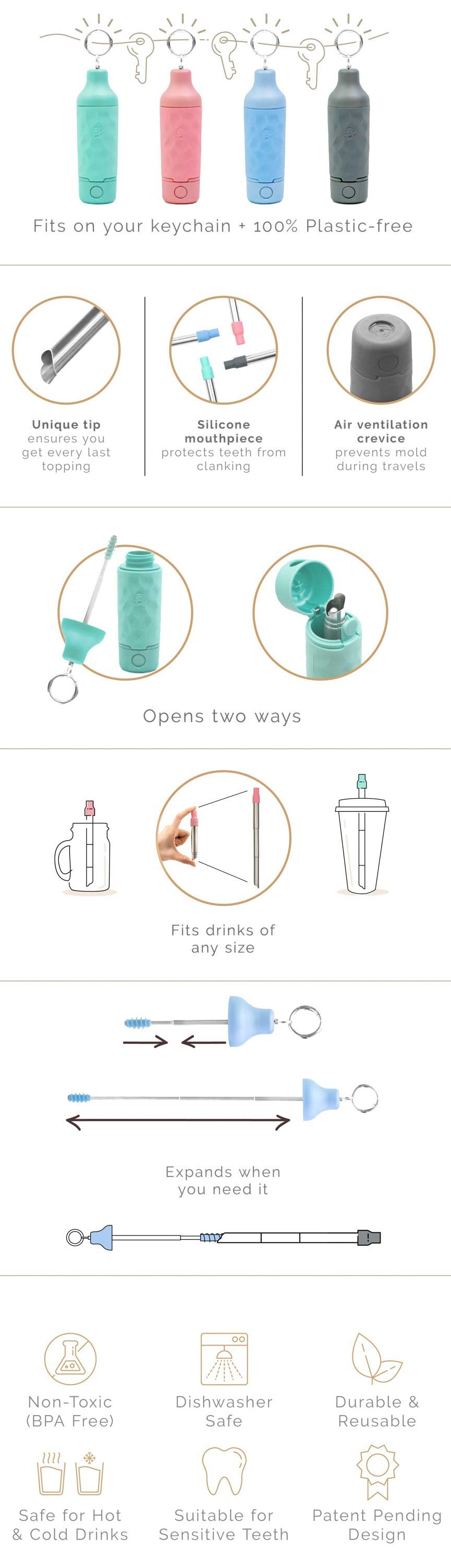Reusable Boba Straw  Buy Reusable Boba Straw With Case  Net Zero Co.