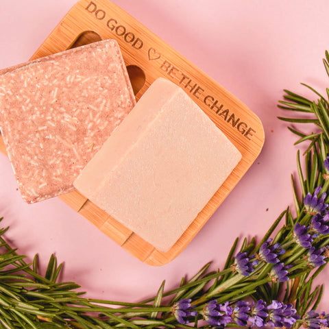 Compostable Bamboo Soap Dish with shampoo and conditioner bars