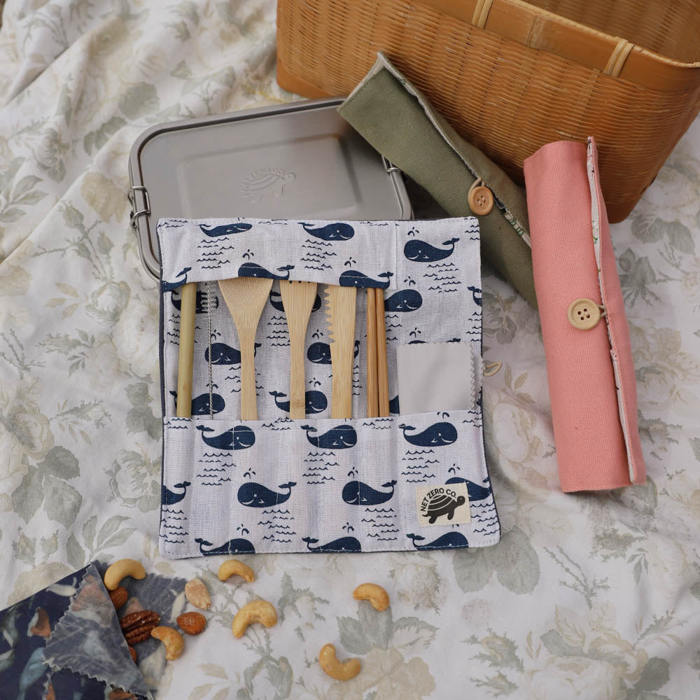 bamboo cutlery set lifestyle - blue whale