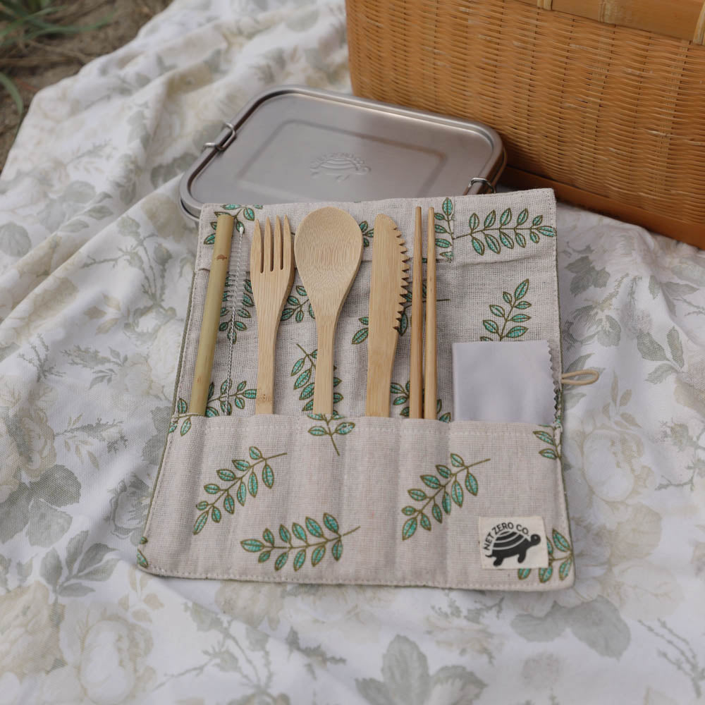 bamboo cutlery set lifestyle - green leaves