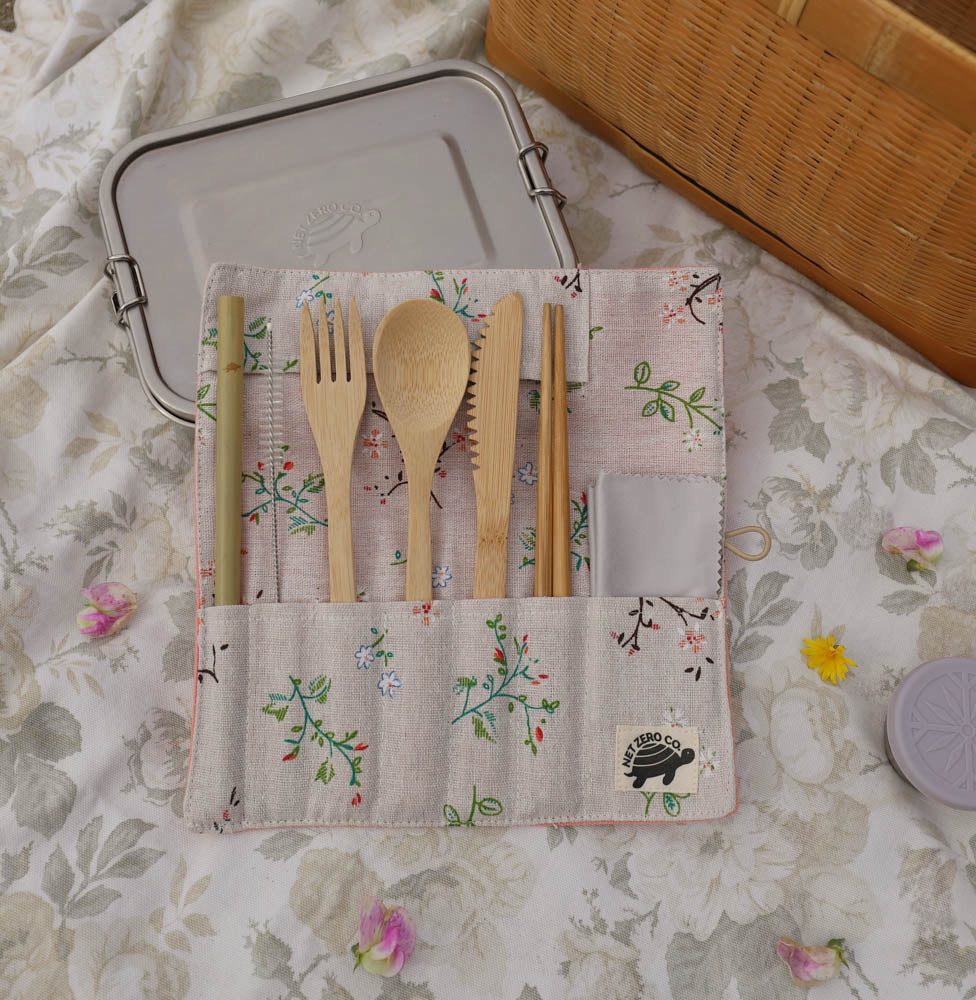bamboo cutlery set lifestyle -  pink floral