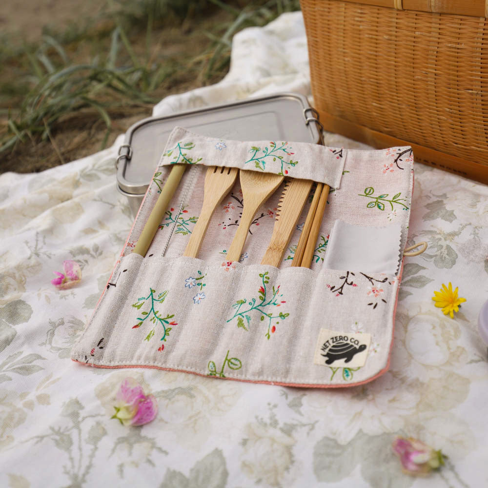 bamboo cutlery set lifestyle - pink floral close up