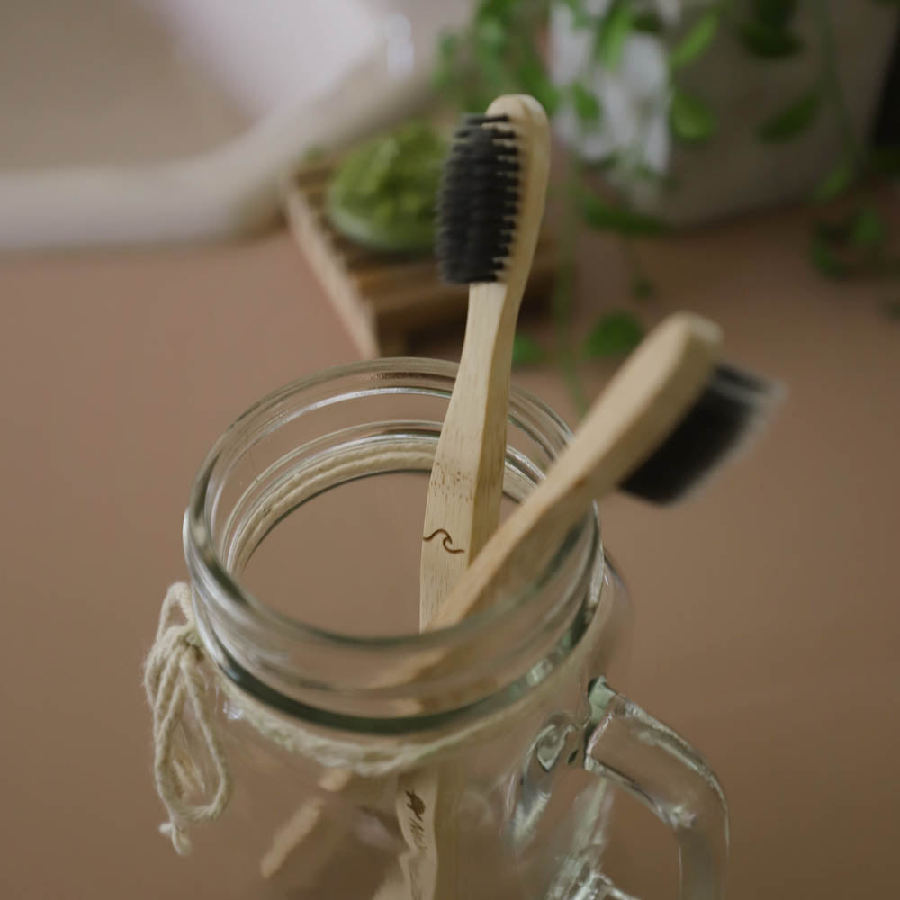 bamboo toothbrush lifestyle - close up wave